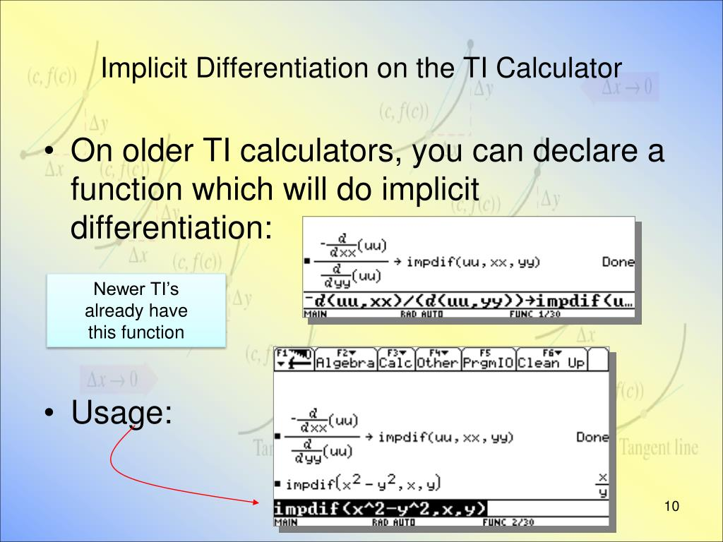 Implicit Differentiation on the TI Calculator