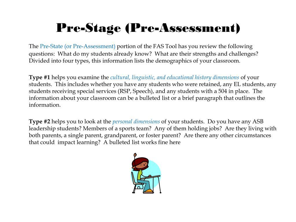 Pre-Stage (Pre-Assessment)
