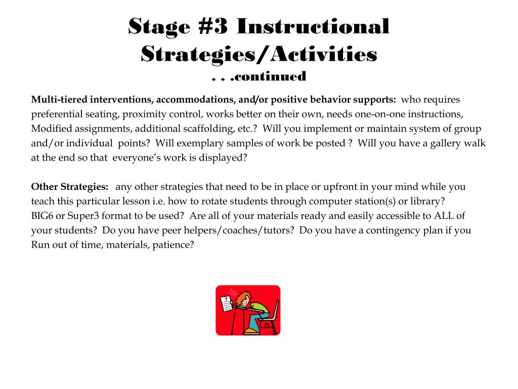 Stage #3 Instructional Strategies/Activities