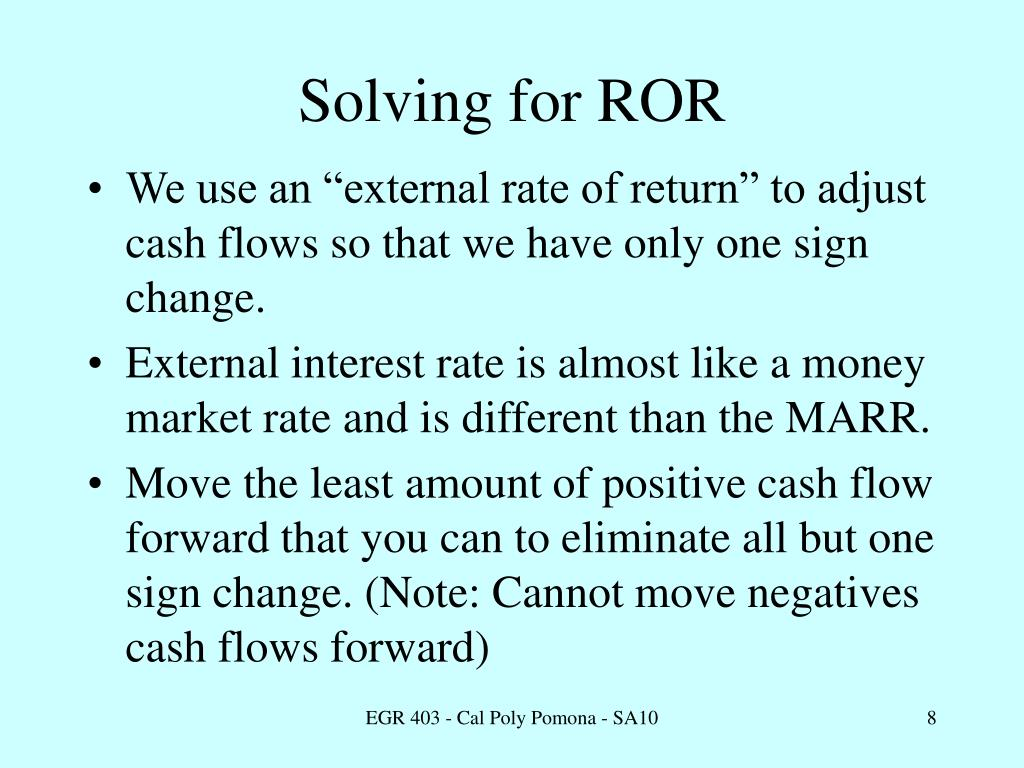 Solving for ROR