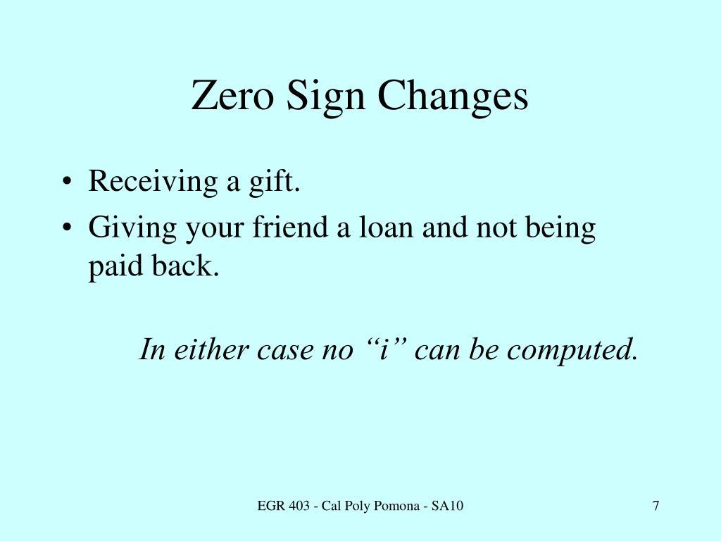 Zero Sign Changes