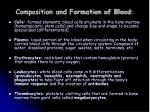 composition and formation of blood