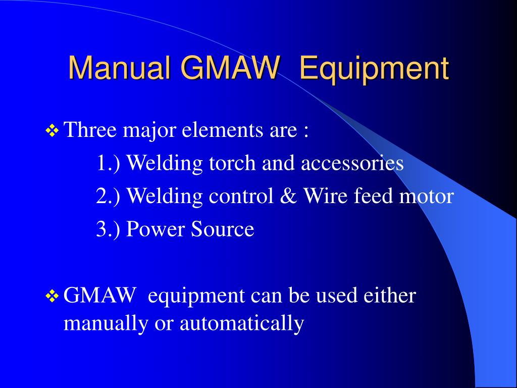 Manual GMAW  Equipment