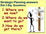 strategic planning answers the 3 big questions