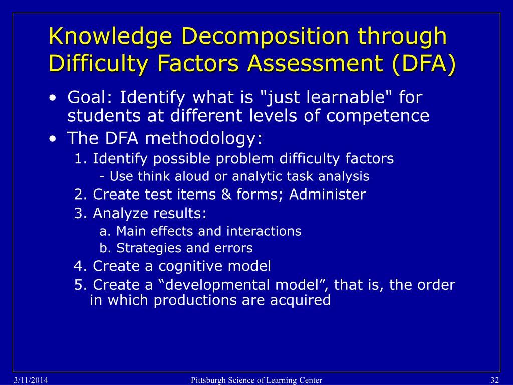 Knowledge Decomposition through Difficulty Factors Assessment (DFA)