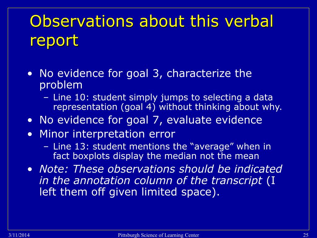 Observations about this verbal report