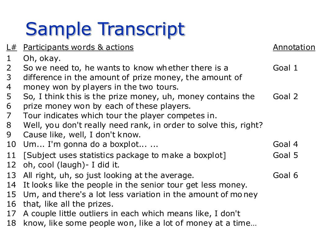 Sample Transcript