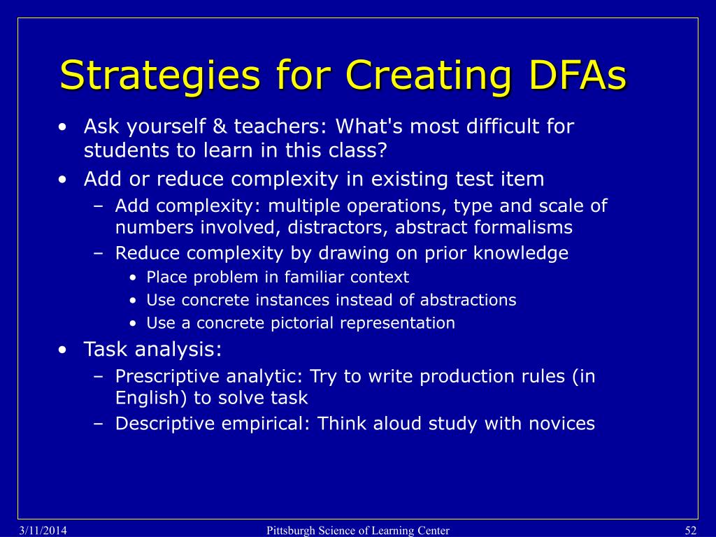 Strategies for Creating DFAs