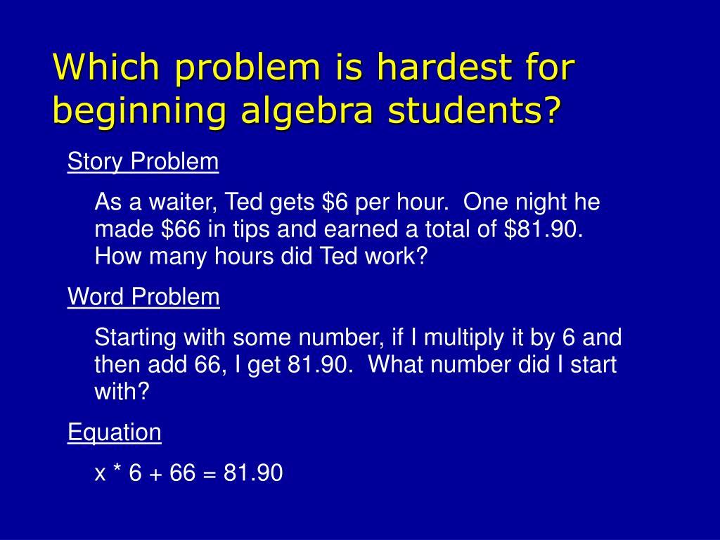 Which problem is hardest for beginning algebra students?