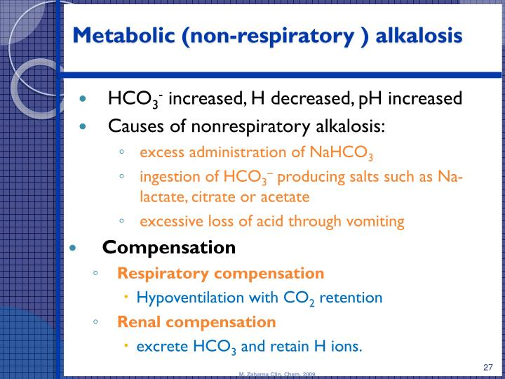 how does the renal system compensate for metabolic acidosis and alkalosis How does one make the diagnosis of metabolic alkalosis and differentiate   result of metabolic alkalosis or may represent compensation for respiratory  acidosis  of activation of the renin-angiotensin-aldosterone system which  increases both.
