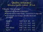 quality assurance biological quality control pf lab