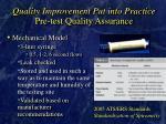 quality improvement put into practice pre test quality assurance19