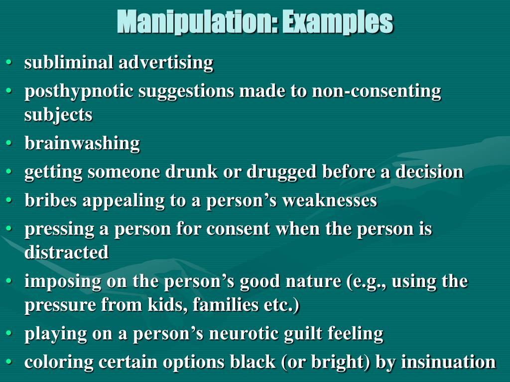 Manipulation: Examples