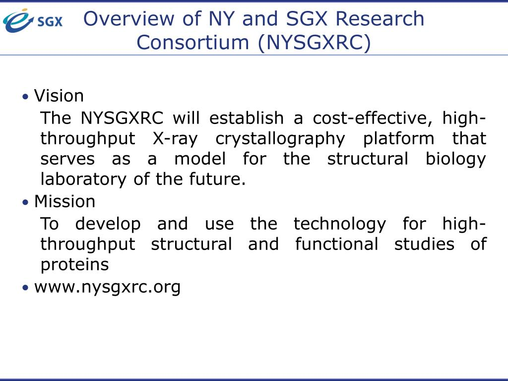 Overview of NY and SGX Research Consortium (NYSGXRC)