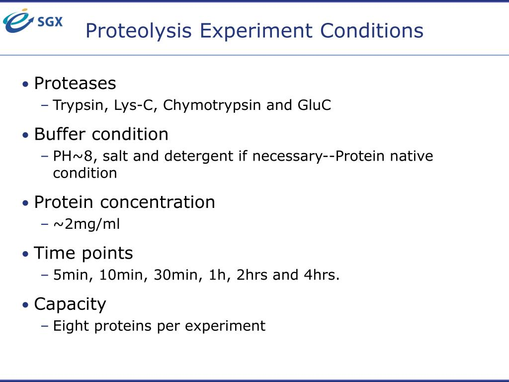 Proteolysis Experiment Conditions