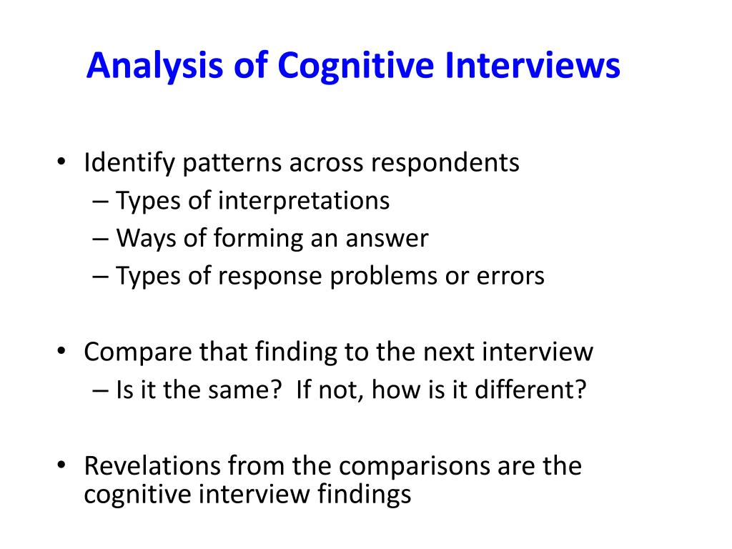 Analysis of Cognitive Interviews
