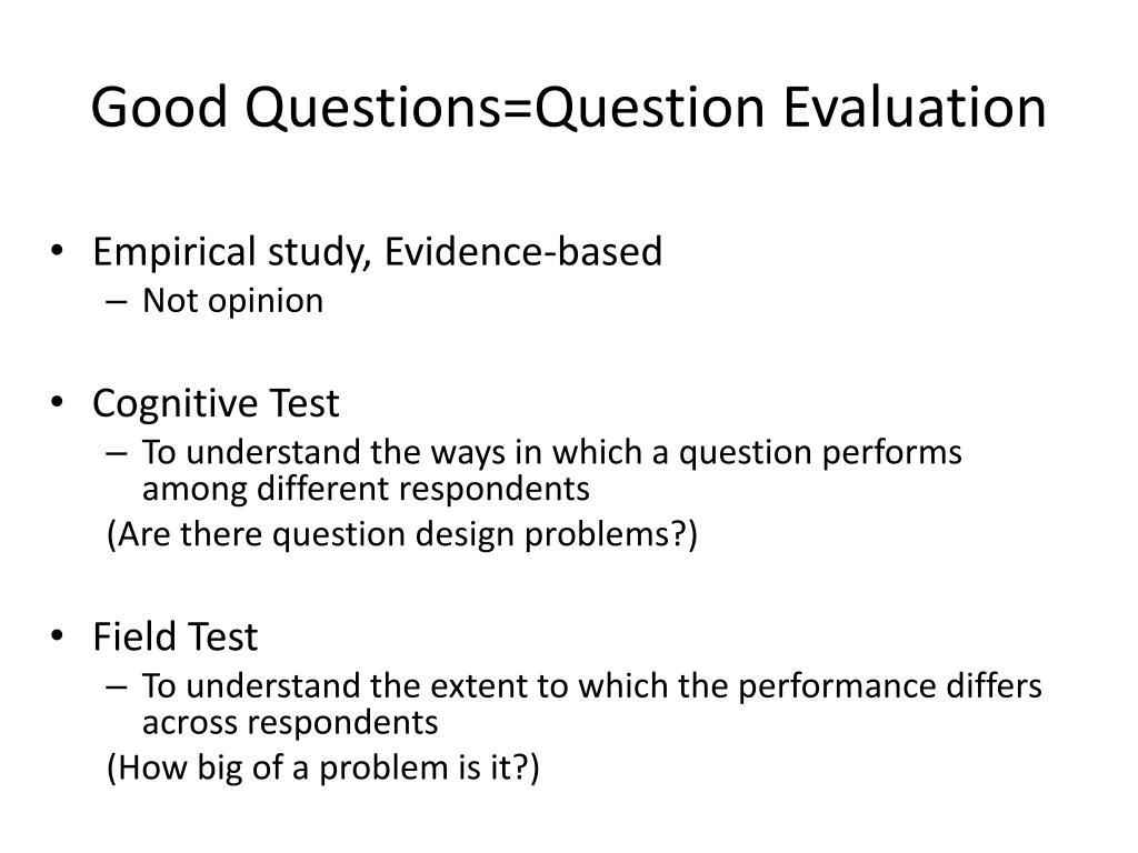 Good Questions=Question Evaluation