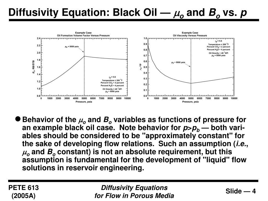 Diffusivity Equation: Black Oil —