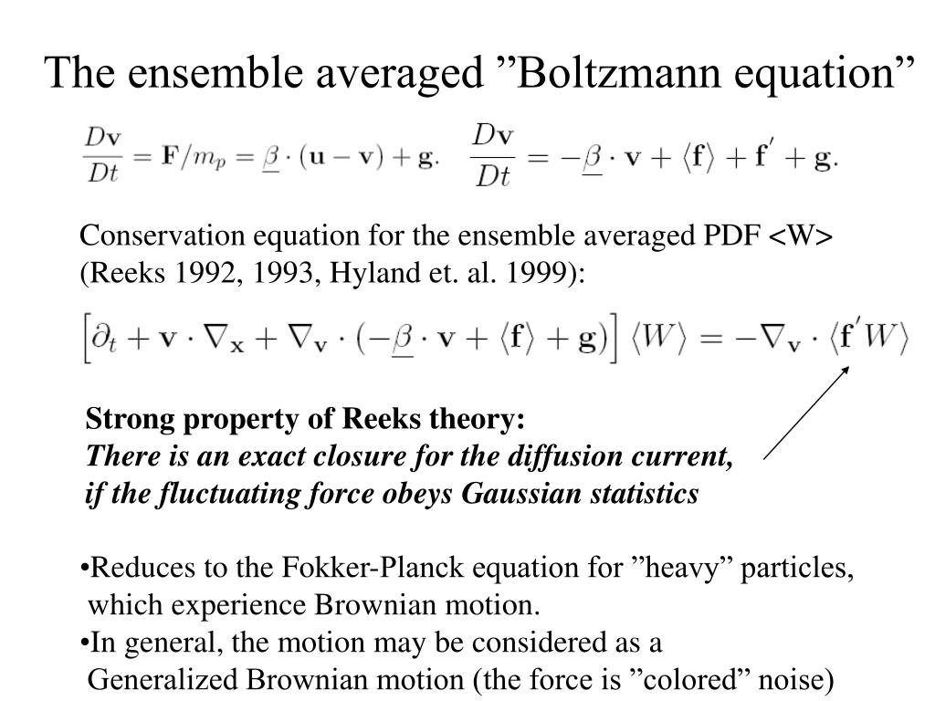 "The ensemble averaged ""Boltzmann equation"""