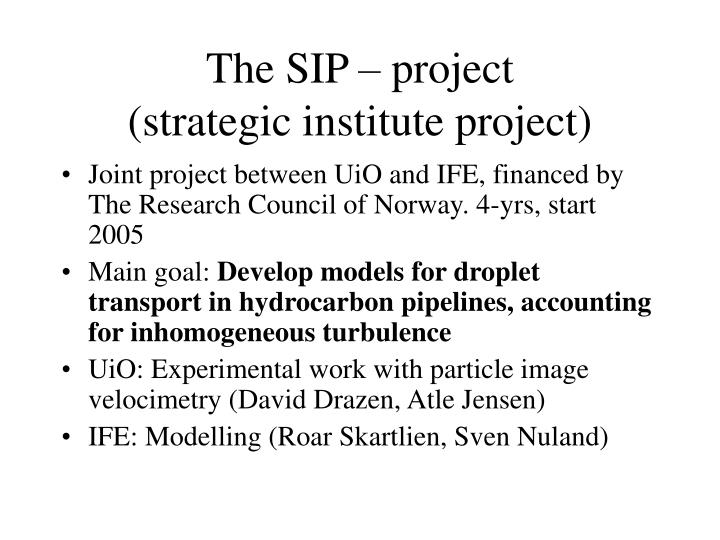 The sip project strategic institute project