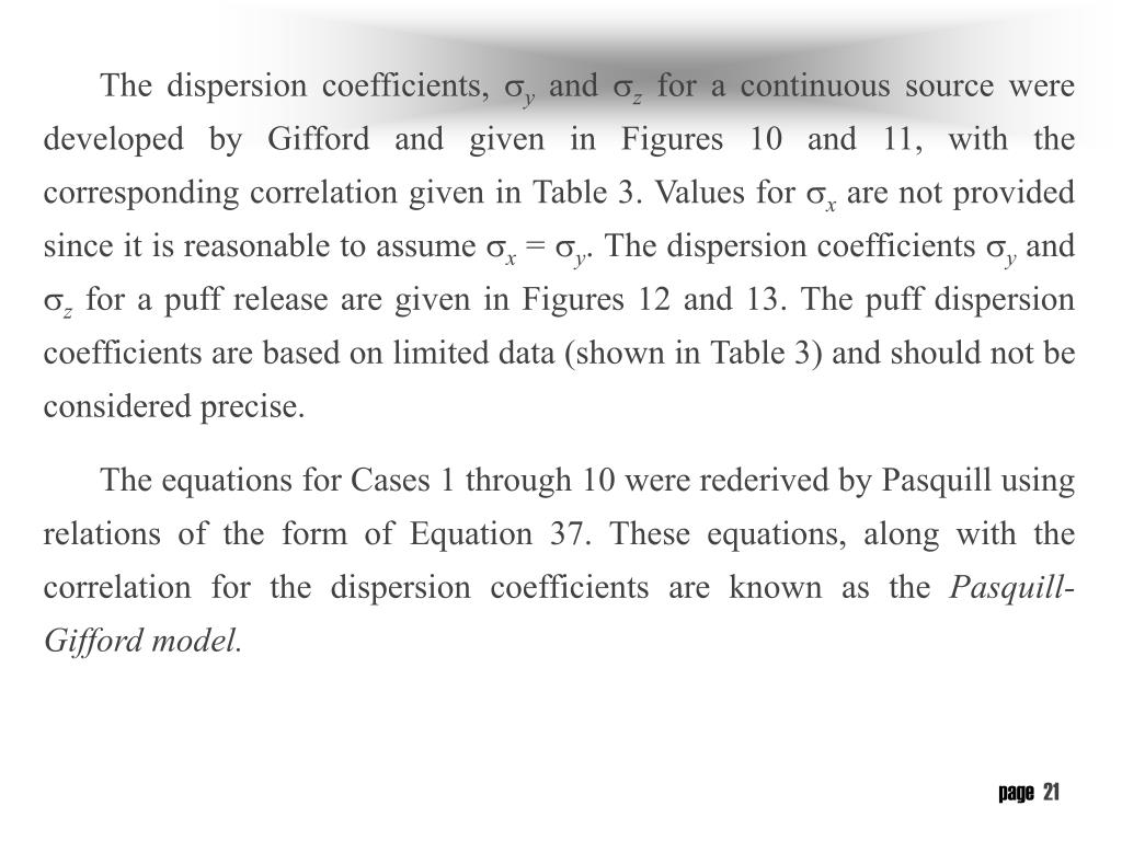 The dispersion coefficients,