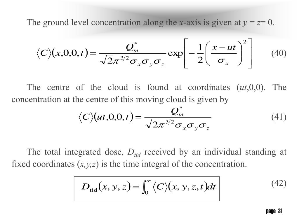 The ground level concentration along the
