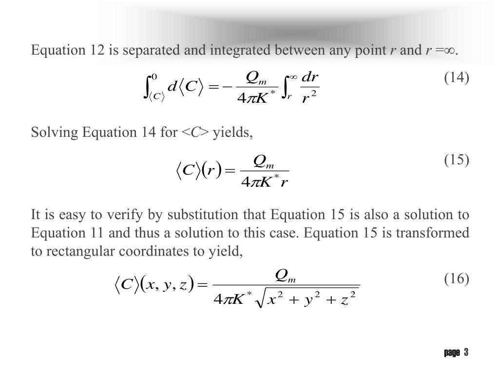 Equation 12 is separated and integrated between any point
