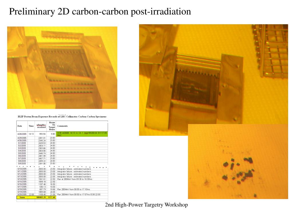 Preliminary 2D carbon-carbon post-irradiation