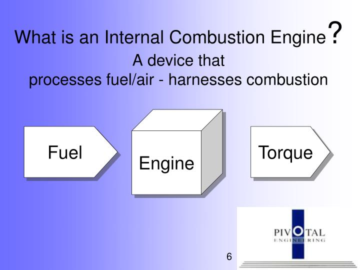 internal combustion engine and fuel The internal combustion engine is an engine in which the combustion of a fuel (normally a fossil fuel) occurs with an oxidizer (usually air) in a combustion chamber.
