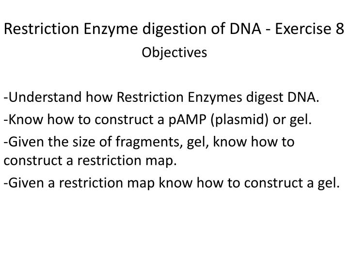 restriction enzyme digestion of dna exercise 8 n.