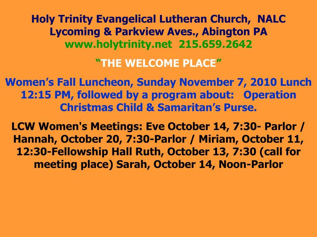 Holy Trinity Evangelical Lutheran Church,  NALC