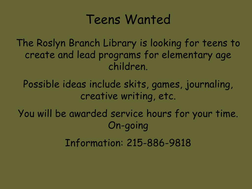 Teens Wanted