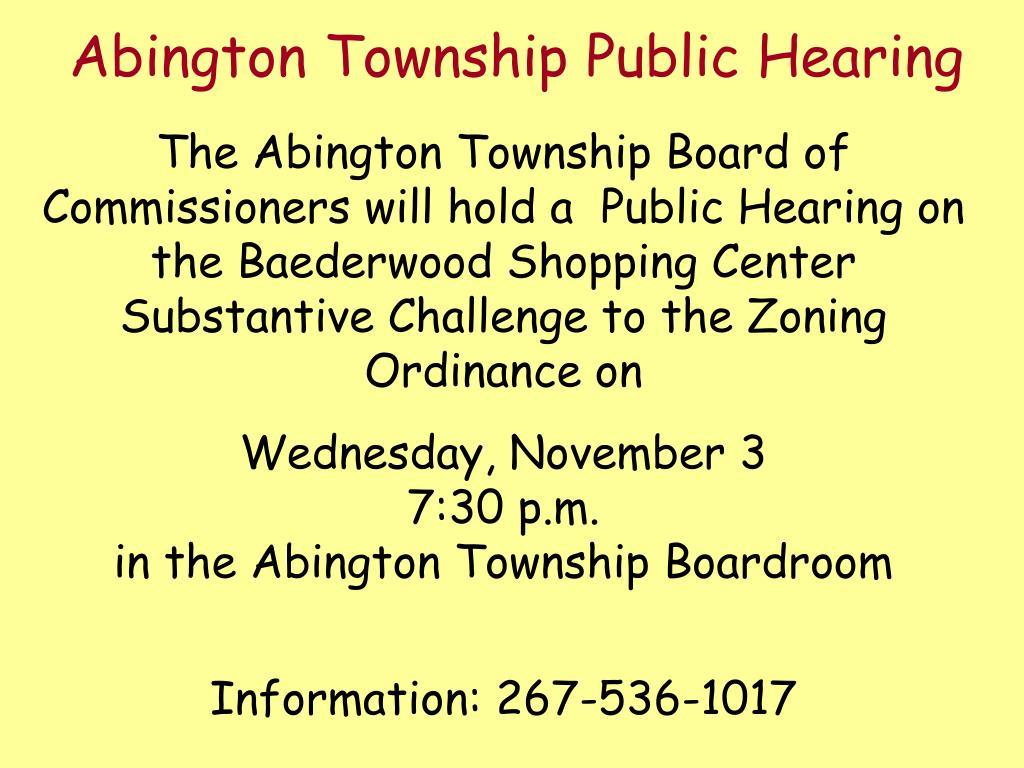 Abington Township Public Hearing
