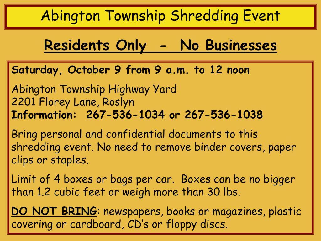 Abington Township Shredding Event