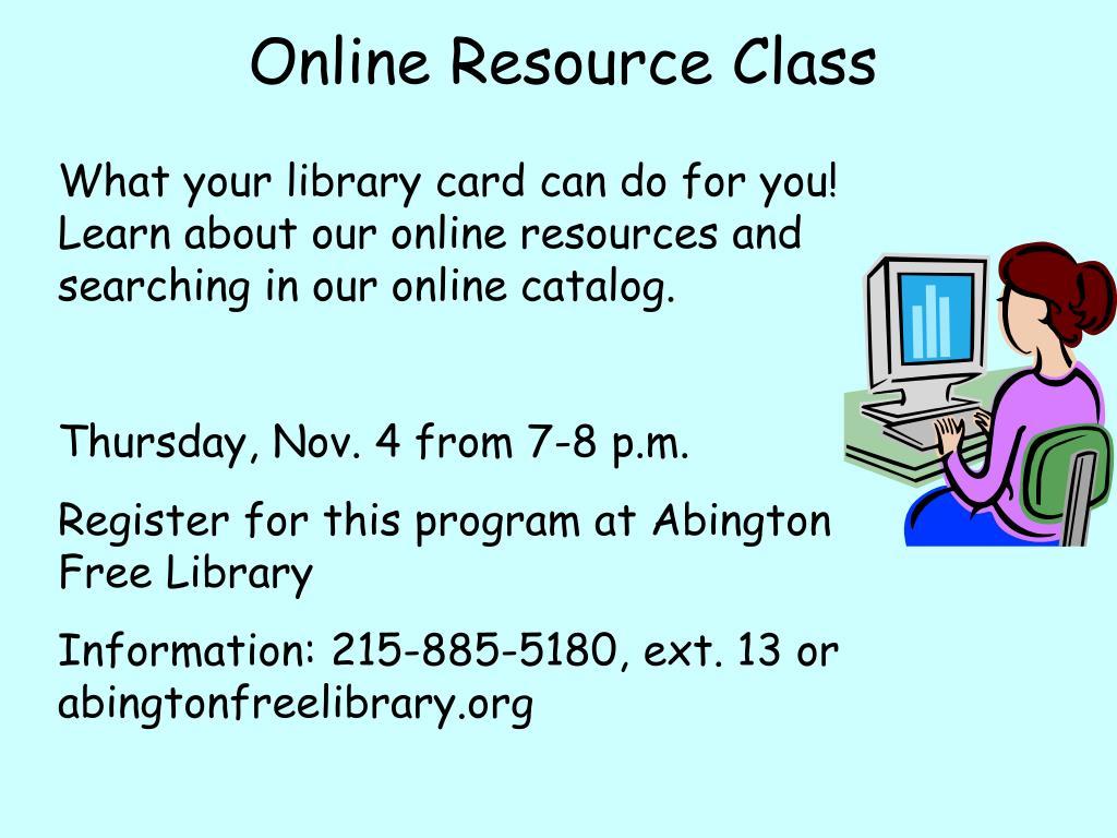 Online Resource Class