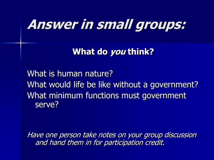 Answer in small groups