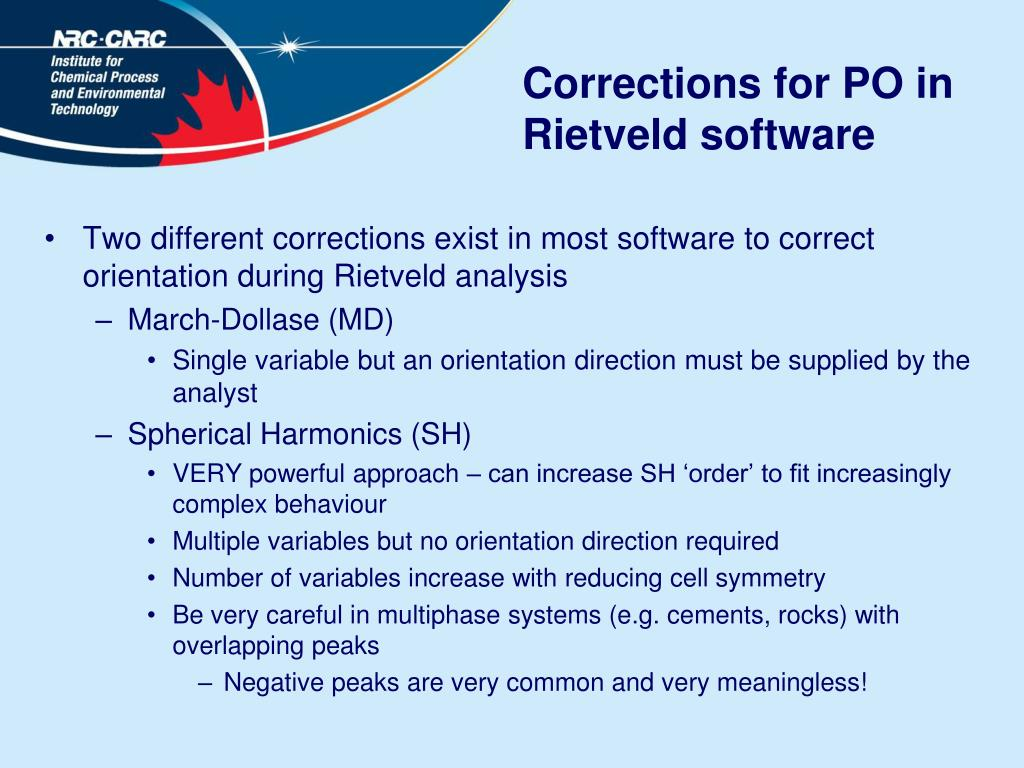 Corrections for PO in Rietveld software