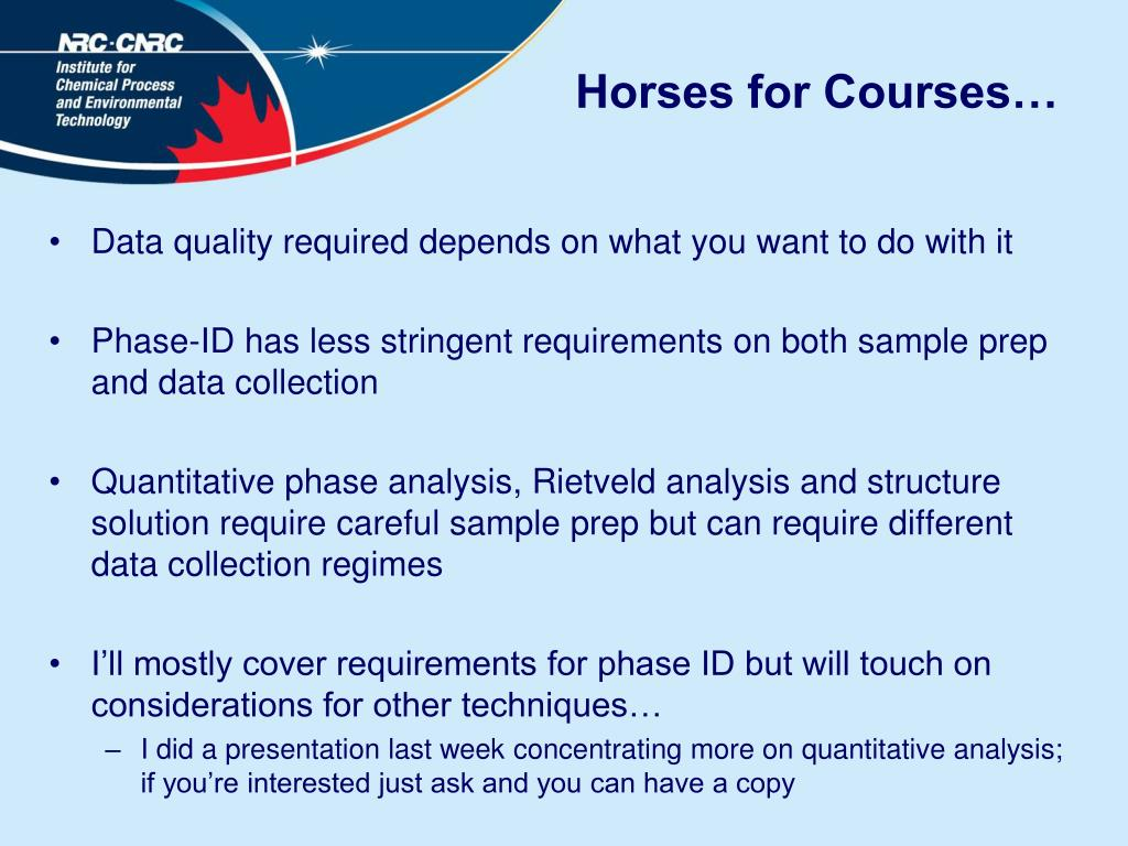 Horses for Courses…