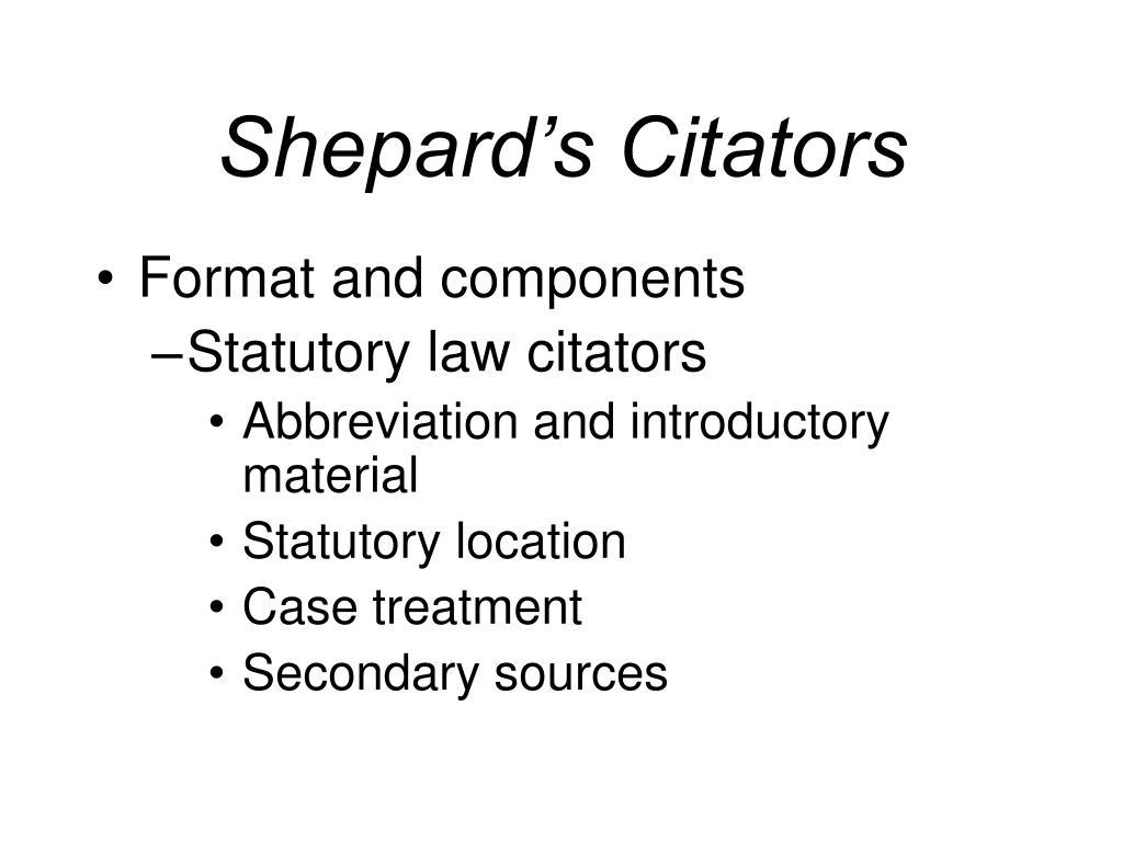 Shepard's Citators