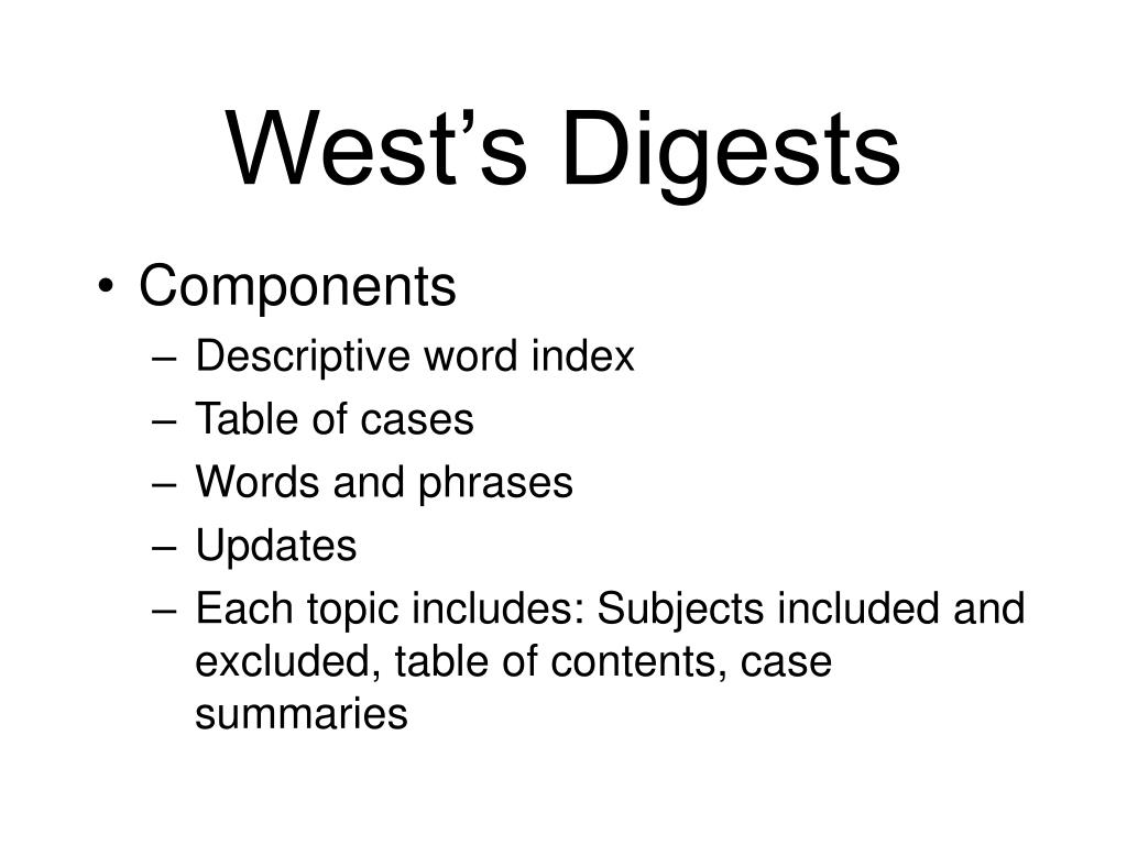 West's Digests