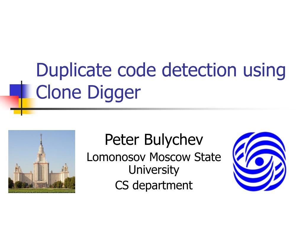 duplicate code detection using clone digger l.