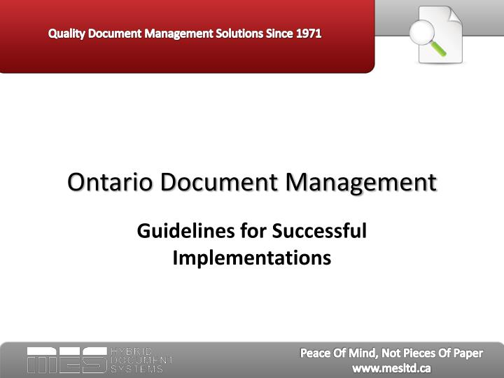 Ontario document management