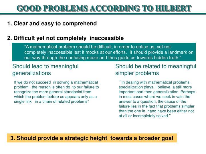GOOD PROBLEMS ACCORDING TO HILBERT