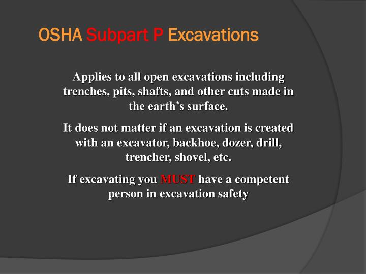 Osha subpart p excavations