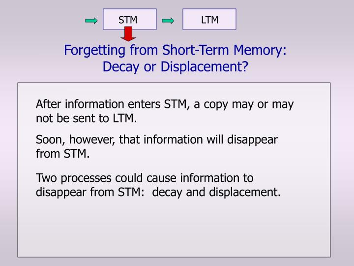 Forgetting from short term memory decay or displacement