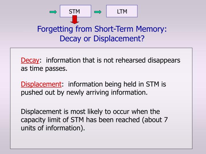 Forgetting from short term memory decay or displacement2