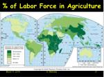 of labor force in agriculture