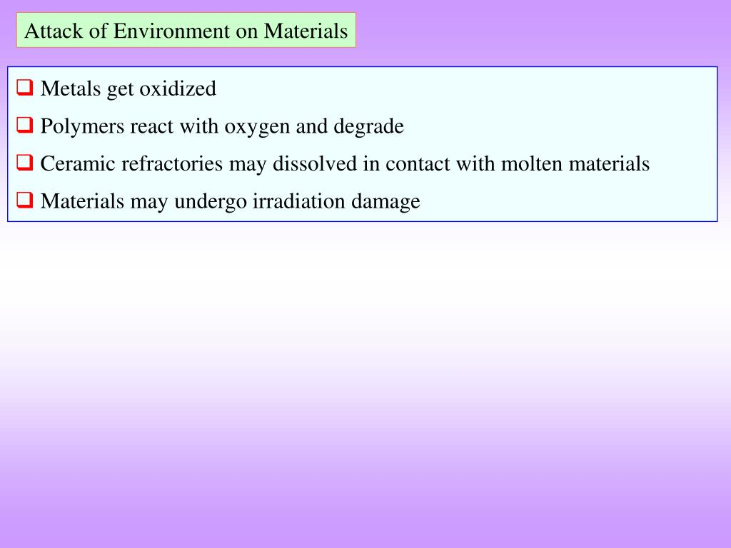 Attack of Environment on Materials