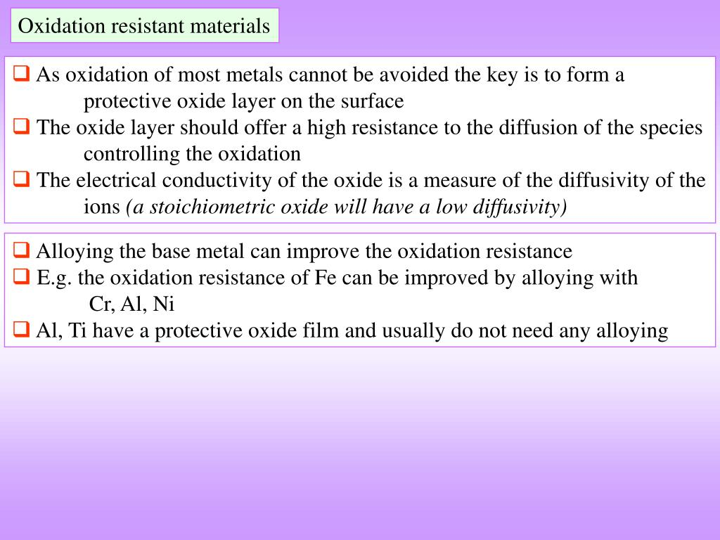 Oxidation resistant materials