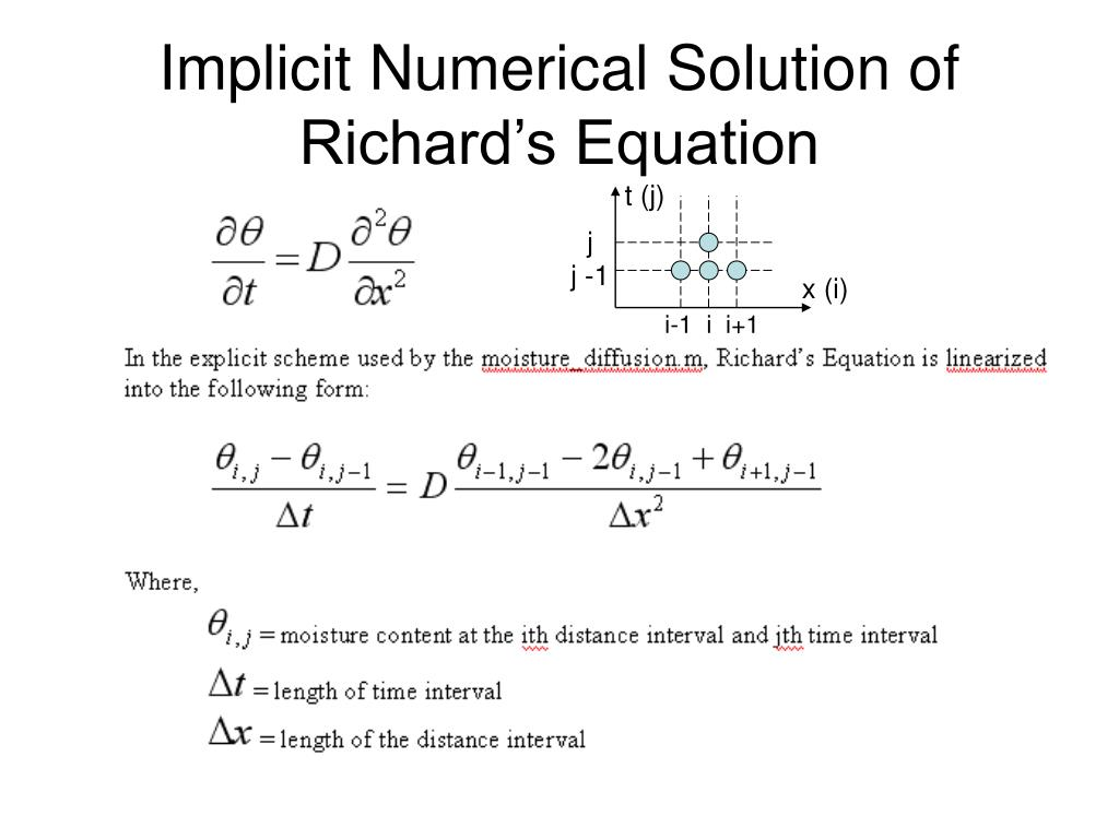 Implicit Numerical Solution of Richard's Equation